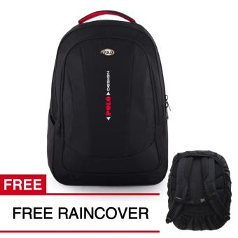 Polo USA Charcoal Tas Laptop Backpack - Black + Raincover 12