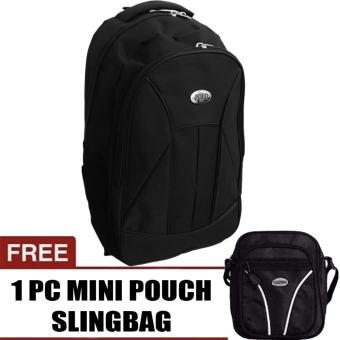 PoloClub Basic Black Laptop Backpack with Raincover Up To 14 Inch + FREE Mini PoloClub Pouch Selempang
