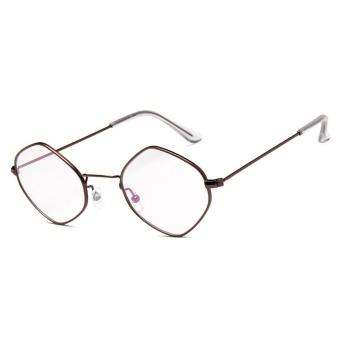 Polygons Personality Small Box Sunglasses Ocean Film Sunglasses Glasses - Coffee Frame + White Lens