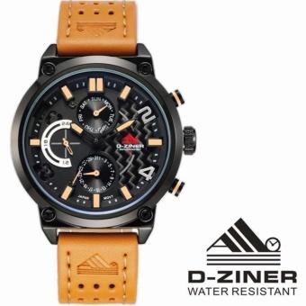 PREMIUM D-Ziner Jam Tangan Pria Original - Dz-9001 Anti Air - Strap Kulit - Orange Black Orange