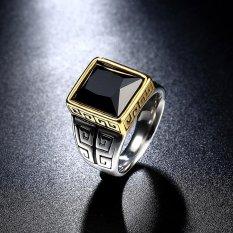 Pria 18 K Emas Berlapis Titanium Steel Black Zircon Vintage Fashion Ring-Intl