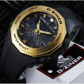 PROMO D-ziner dz8176 Sporty - Jam Tangan Pria Original Anti Air - Black Gold