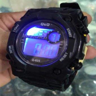 Q&Q - Jam Tangan Digital Pria - Rubber Hitam - Dial Hitam - Bezel Full Hitam QQ 1170