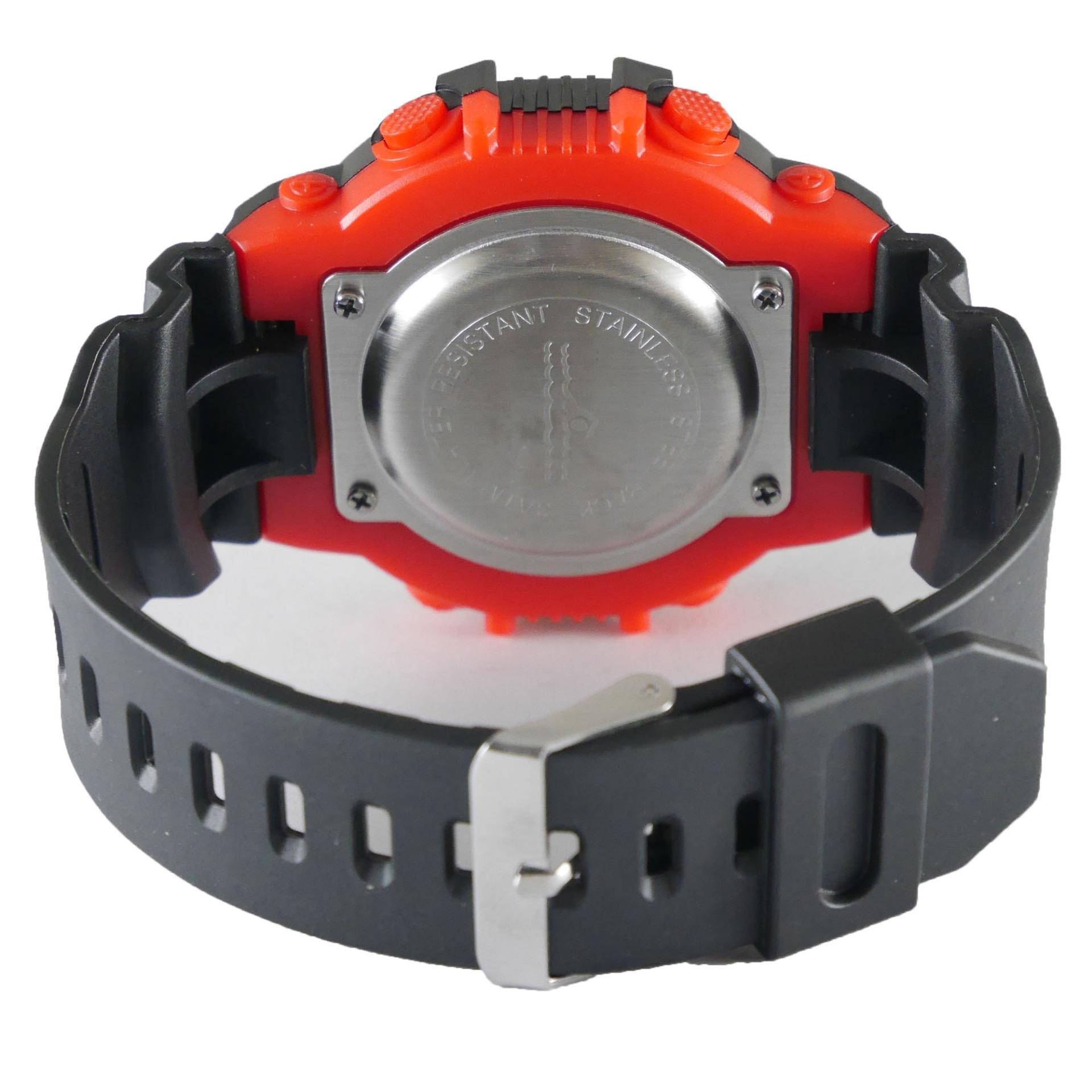 Qq Jam Tangan Digital Pria Rubber Hitam Dial Bezel Merah Sport Qq0199 Waterresist
