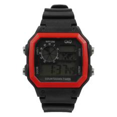 Q&Q - Jam Tangan Digital Pria - Rubber Hitam - Dial Hitam - Bezel Merah QQX 1100