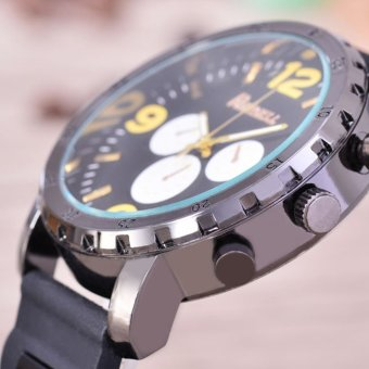 Raynell Jam Tangan Pria Body Black Black Yellow Dial BlackRubber Band RNY KRT .