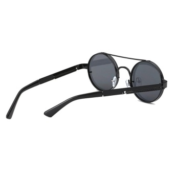 Merah Lensa Kacamata Hitam Pria Bulat Antik 2018 Steampunk Matahari Kacamata untuk Wanita Gold Hitam Perak