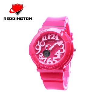 Reddington RDT5433DTMM Dual Time Jam Tangan Wanita Rubber Strap ( Merah Muda )