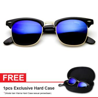 Retro Club Master Sunglasses LQ 9912 M Blue mercury Free Exclusive Hard Case - Kacamata Pria