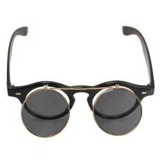 Retro membalik lensa kacamata vintage sampai bulat kacamata hitam untuk pria wanita Hitam
