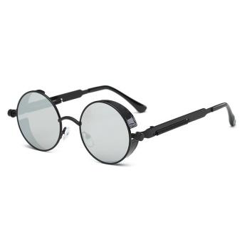 Round Logam Sunglasses Taburi Pria dan Wanita Fashion Retro Retro Sunglasses -Kotak Hitam Putih Mercury