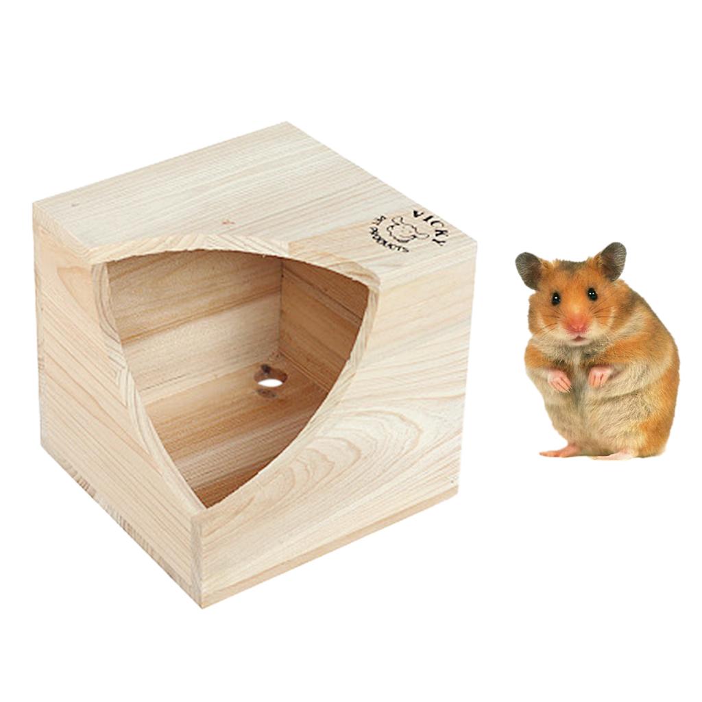Rumah Hewan Piaraan Kecil Tempat Tidur Kayu Alami Untuk TupaiHamster Square House Mouse Bolehdeals