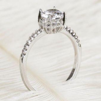S925 simulasi menikah platinum berlapis mikro cincin cincin berlian perempuan