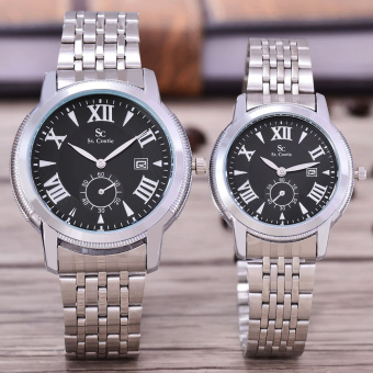 Saint Costie Original Brand, Jam Tangan Pria & Wanita - Body Silver - Black Dial - Stainless Stell Band - SC-RT-8006B-GL-DETIK-SB-PNP-COUPLE