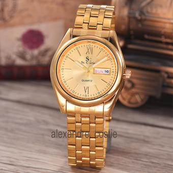Saint Costie Original Brand-Jam Tangan Pria-Body gold-GOLD dial-Stainless Stell Band-SC-RT-5236B-G-GG-TH