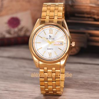 Saint Costie Original Brand-Jam Tangan Pria-Body gold-White dial-Stainless Stell Band-SC-RT-5236B-G-GW-TH