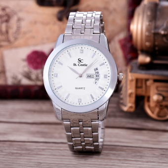 Saint Costie Original Brand, Jam Tangan Pria - Body Silver - White Dial - Stainless Stell Band - SC-RT-8031G-TH-SW-PNP