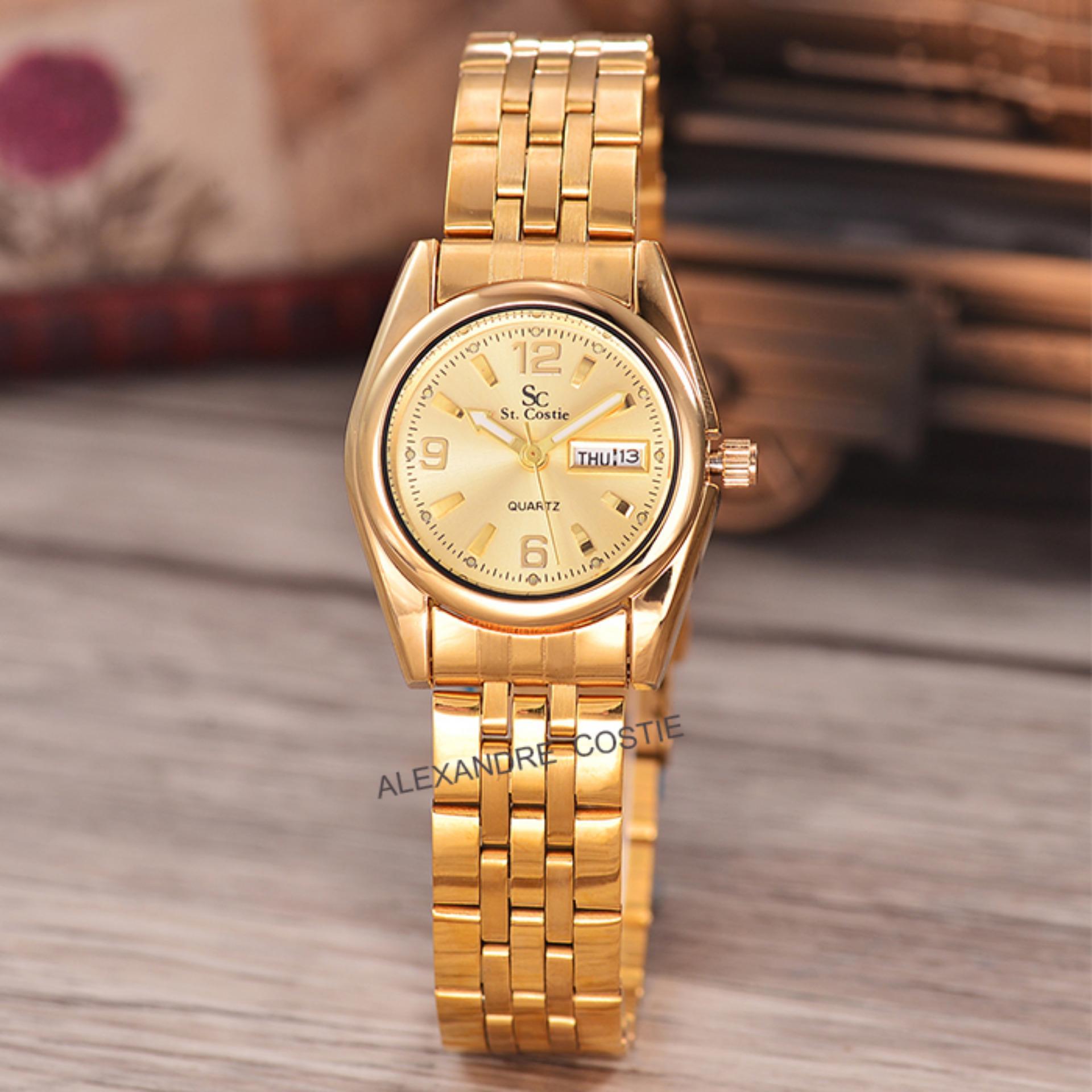 ... Saint Costie Original Brand-Jam Tangan Wanita-Body gold-gold dial- Stainless ...