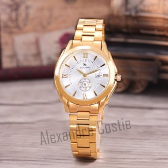 Saint Costie Original Brand, Jam Tangan Wanita - Body Gold - White Dial - Stainless Stell Band - SC-RT-8002L-TGL-GW-GOLD-Detik