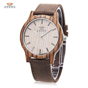 S&L K KENON Male Wooden Case Canvas Band Quartz Watch (Coffee) - intl