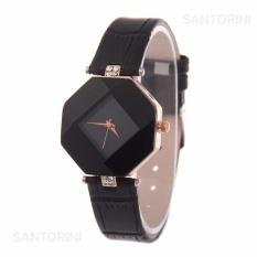 Santorini Jam Tangan Wanita Fashion Faux Leather Luxury Women Analog Quartz Wrist Watch - BLACK