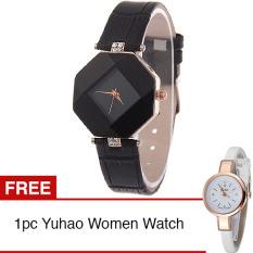 Santorini Jam Tangan Wanita Faux Leather Luxury Women Watch - Black + Gratis Yuhao Diamond Style Women Watch - White