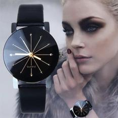 Santorini Jam Tangan Wanita Kulit PU Fashion Stainless Steel Analog Quartz Women Lady Leather Watch - Black