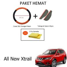 Sarung / Cover Stir / Setir / Steer Mobil All New Xtrail Warna Hitam Orange + Talang Air Spion Hitam