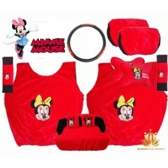 Sarung Jok Mobil Universal 6 in 1 / Bantal Mobil / Car Set MobilMinnie Mouse / Mini Mouse 6in1