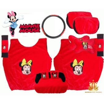 Sarung Jok Mobil Universal 6 in 1 / Bantal Mobil / Car Set MobilMinnie Mouse /