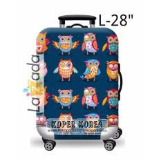 Sarung pembungkus koper impor motif Owl Blue ukuran Large L 28 inch elastisIDR145000
