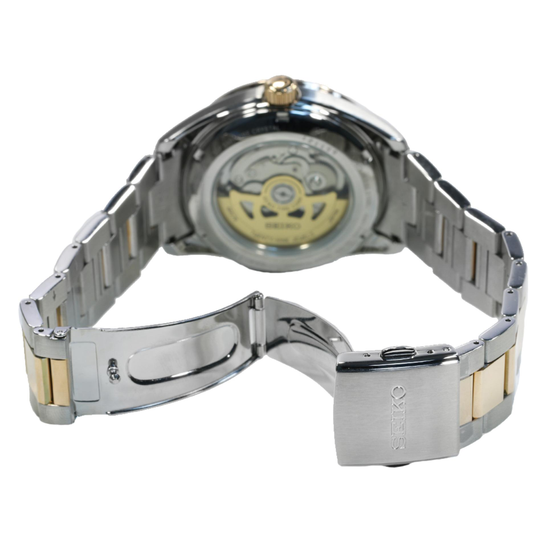 Seiko 5 Automatic Jam Tangan Tali Stainless Steel Black Srp489k1 Sport Srp487k1 Logam Silver Pria Presage Strap Stell Ssa308j1