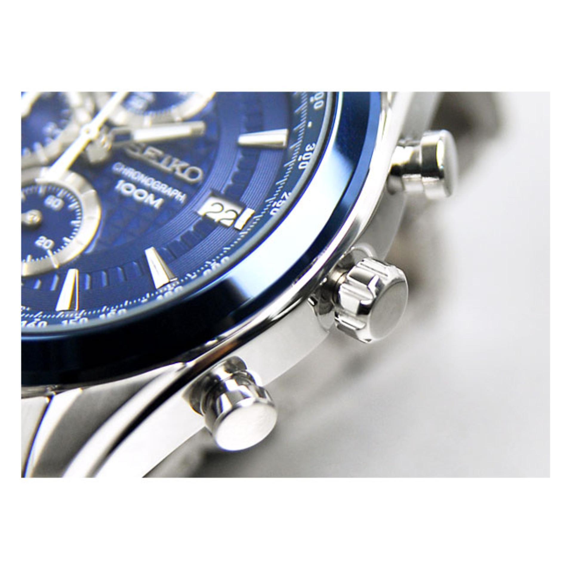 Seiko Chronograph Jam Tangan Pria Strap Stainless Stell Ssb177p1 Sna793p1 Steel Silver Blue Navy