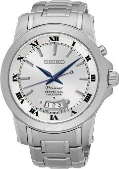 Seiko Premier Quartz Perpetual Calendar Jam Tangan Pria - Silver - Stainless Steel - SNQ145P1