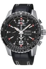 Seiko Sportura Chronograph Jam Tangan Pria - Hitam - Genuine Leather Strap - SNAE95P1