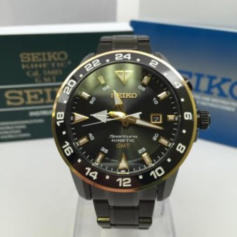 Seiko - Sportura SUN026P1 Kinetic GMT 100M Black-Gold - Jam Pria SUN026