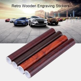 Self-adhesive Wood Grain Textured Car Interior Film Panel Wrap Stickers Vintage Style W1398 - intl