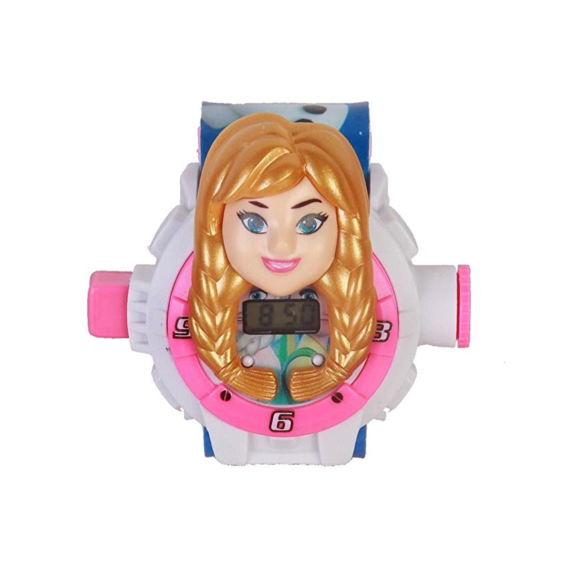 SerenaStore Jam Tangan Anak Proyektor Model Karakter 3D Frozen - Putih .