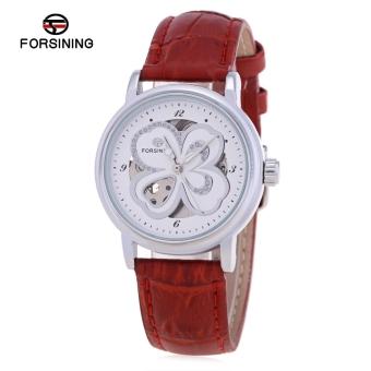 SH Forsining F1205244 Women Auto Mechanical Watch Butterfly Pattern Dial Genuine Leather Strap Wristwatch Red - intl