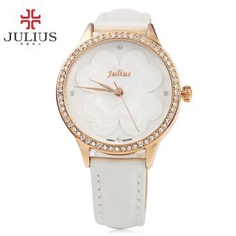 SH JULIUS JA - 803 Women Quartz Watch Artificial Diamond Dial Water Resistance Wristwatch White -