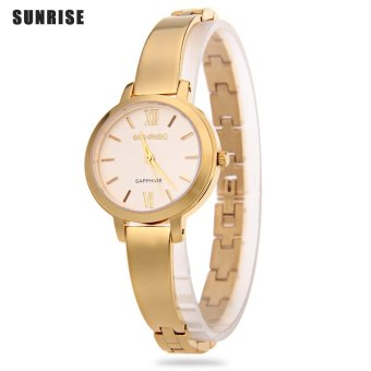 SH SUNRISE SL712SWA Female Quartz Watch Artificial Rhinestone Nail Scale Sapphire Mirror Hyperfine Strap Wristwatch Gold - intl