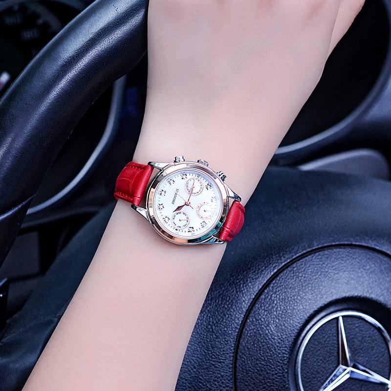 Shourui kasual Jurchen sabuk kulit bentuk perempuan berlian jam tangan  wanita fef75e0409