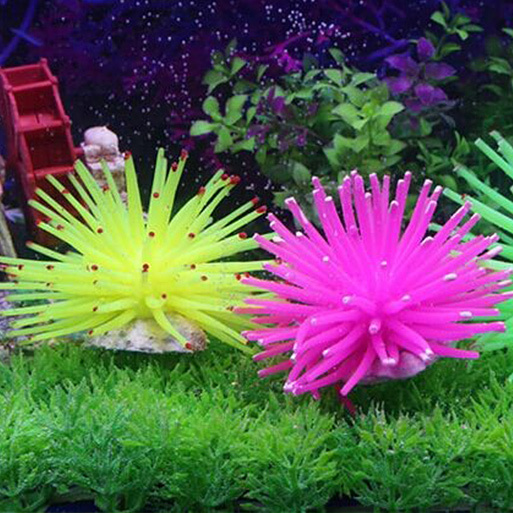... Silicone Aquarium Fish Tank Decor Artificial Coral Plant UnderwaterOrnament NEW 7cm Blue - intl ...
