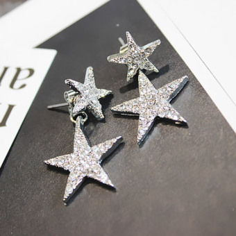 Size wild diamond Five Angle Star temperament ear ring Korean-style earrings