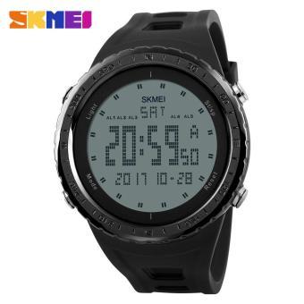 SKMEI 1246 Men Sports Watches Countdown Chrono Double Time EL Light Digital Wristwatches 50M Water Resistant - Black - intl