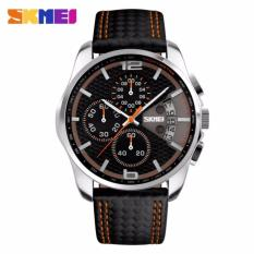SKMEI 9106 Fashion Quartz Watch Men Outdoor Sports Chrono Leather Band Waterproof Wristwatch Relogio Masculino-
