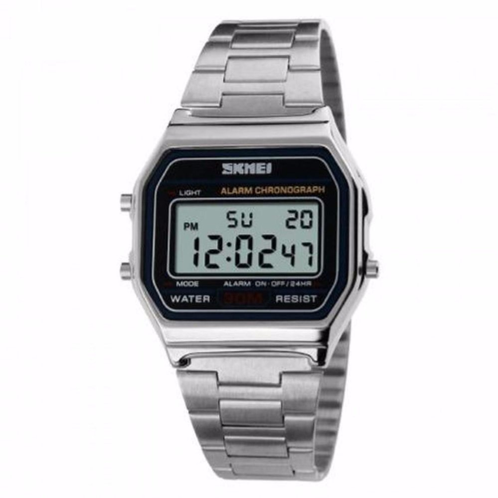 SKMEI Casio Digital Casual Men Stainless Strap Watch Anti Air Water Resistant WR .