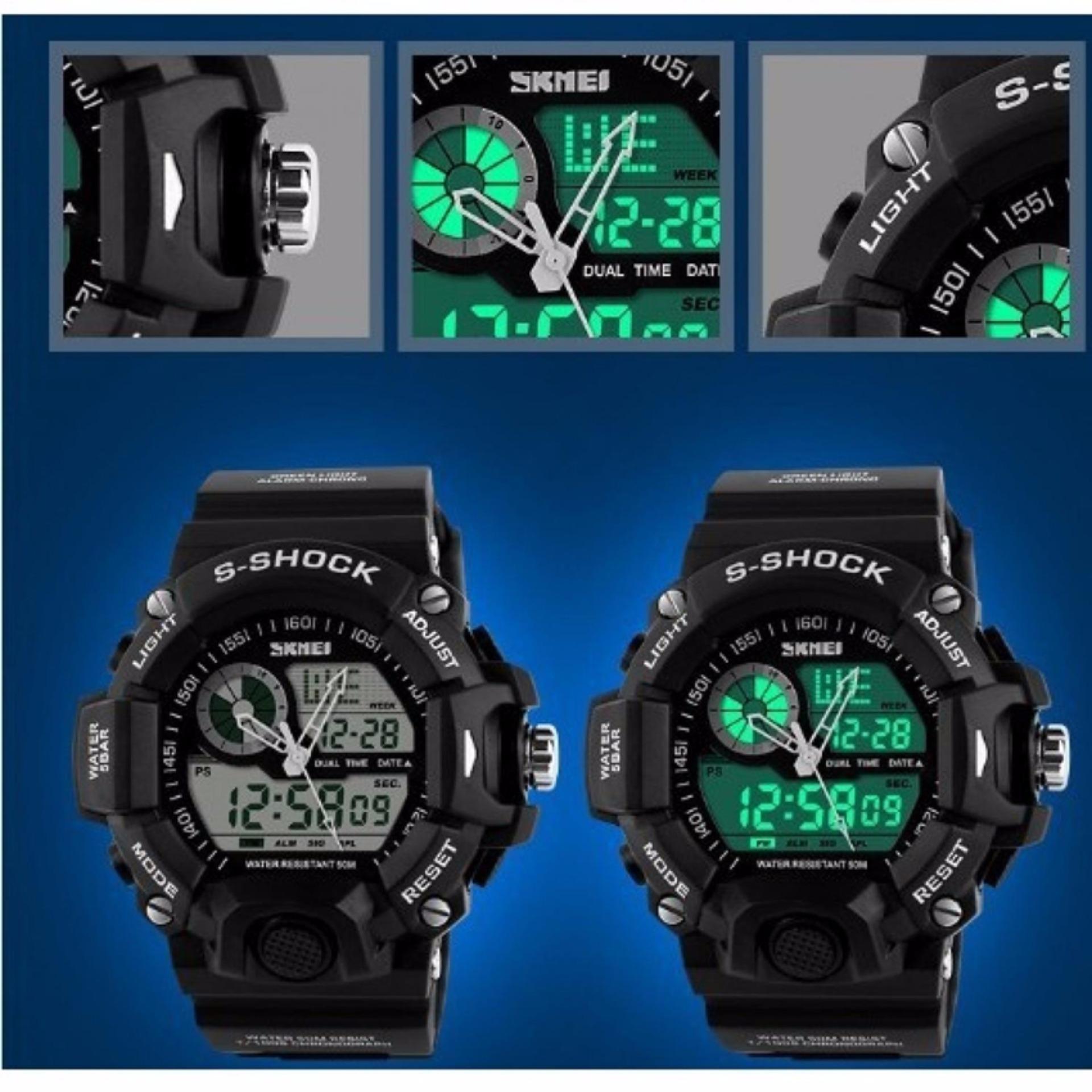 Pencarian Termurah Skmei Casio Dual Time Men Sport Led Watch Anti Jam Air Water Resistant Wr