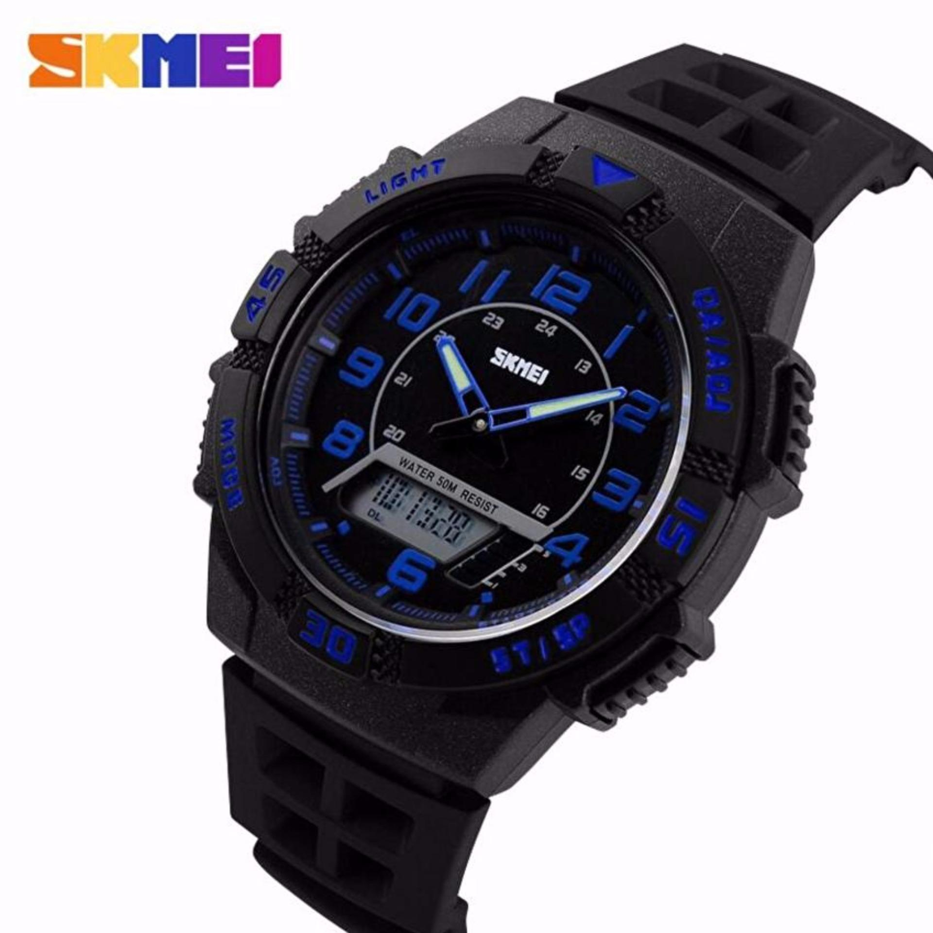 SKMEI Casio Dual Time Men Sport LED Watch Anti Air Water Resistant WR 50m AD1065 Jam