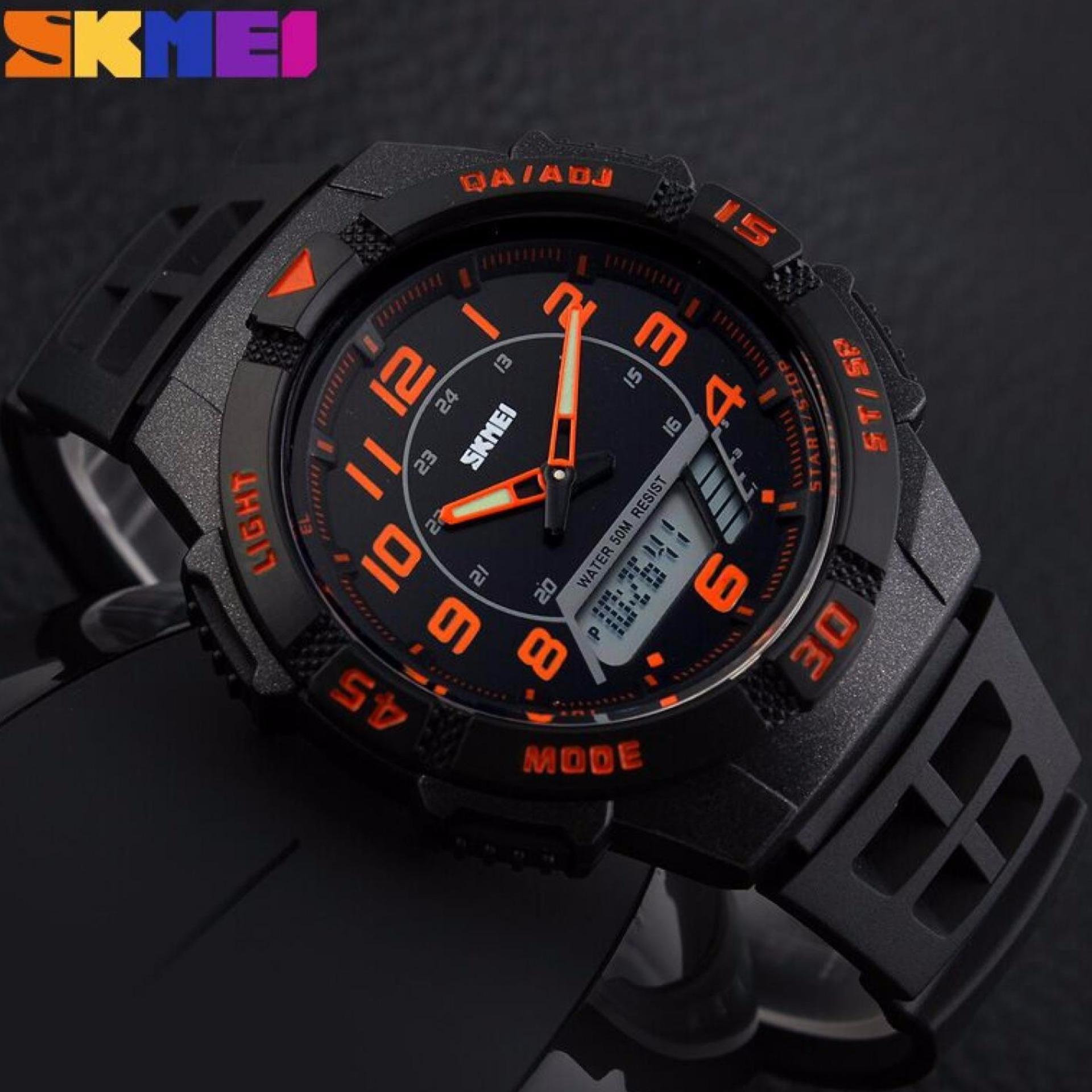 ... SKMEI Dual Time Men Sport LED Watch Anti Air Water Resistant WR 50m AD1065 Jam Tangan ...